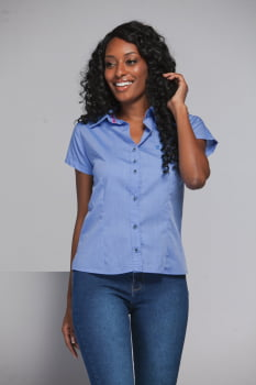 CAMISA FEMININA SOCIAL MANGA CURTA BLUE
