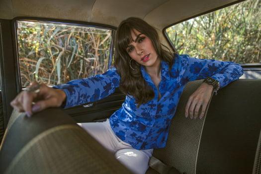 CAMISA FEMININA SOCIAL MANGA LONGA PREMIUM BLUE